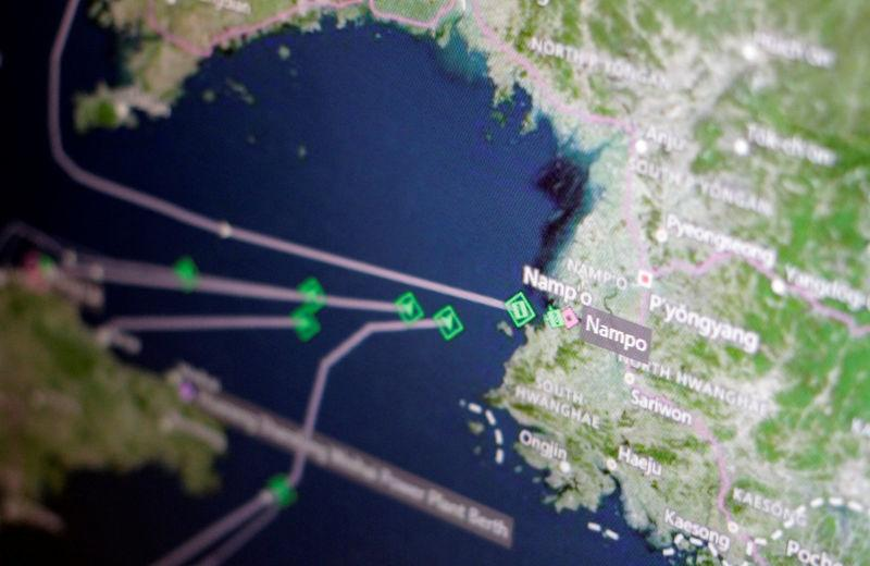 A Thomson Reuters Eikon ship-tracking screen shows cargo ships returning to Nampo port