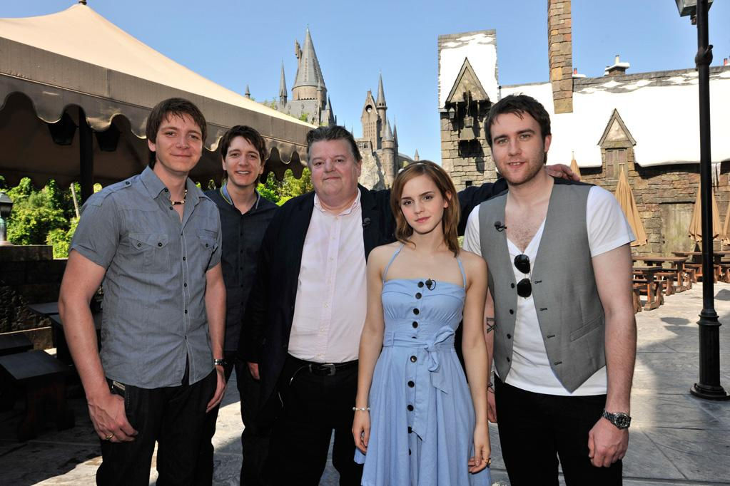 """""""Harry Potter"""" film stars <a href=""""http://movies.yahoo.com/movie/contributor/1800020819"""">Robbie Coltrane</a>, <a href=""""http://movies.yahoo.com/movie/contributor/1800180728"""">Matthew Lewis</a>, <a href=""""http://movies.yahoo.com/movie/contributor/1802866081"""">Emma Watson</a>, <a href=""""http://movies.yahoo.com/movie/contributor/1807635763"""">Oliver Phelps</a> and <a href=""""http://movies.yahoo.com/movie/contributor/1807635762"""">James Phelps</a> at The Wizarding World of Harry Potter."""