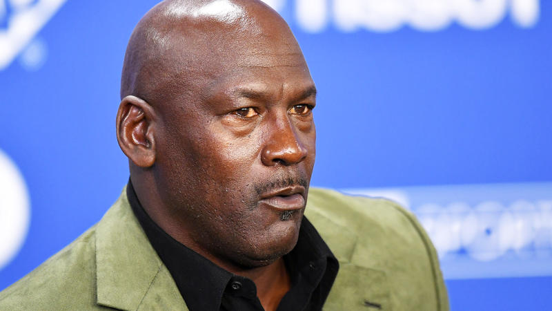 Michael Jordan is pictured during an NBA press conference.
