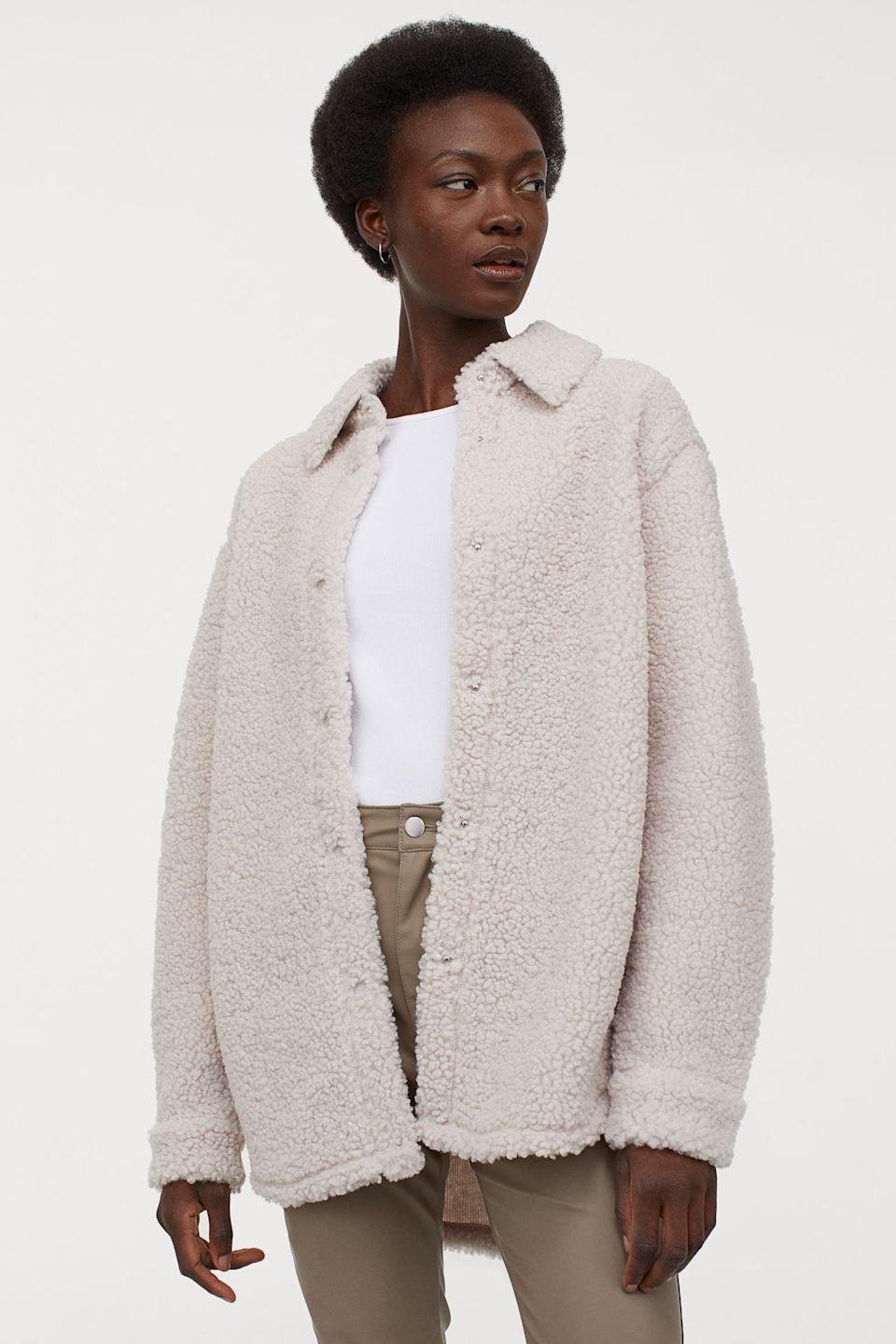 <p>This <span>H&M Long Faux Shearling Shacket</span> ($30) is so cozy.</p>