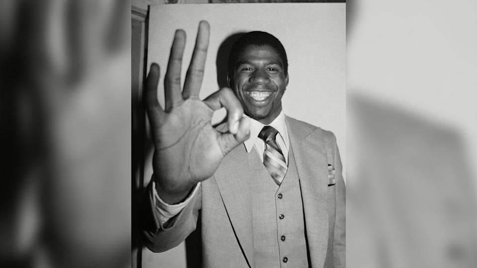 "Mandatory Credit: Photo by Marty Lederhandler/AP/Shutterstock (6601478b)Earvin ""Magic"" Johnson of Michigan State flashes the ""OK"" sign at New York's Plaza Hotel in New York, after being selected as the opening draft selection of the Los Angeles Lakers in the National Basketball Association's college draftMagic Johnson, New York, USA."