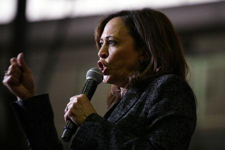 U.S. 2020 Democratic presidential candidate Kamala Harris speaks during a rally at Texas Southern University in Houston, Texas, U.S., March 23, 2019.  REUTERS/Loren Elliott