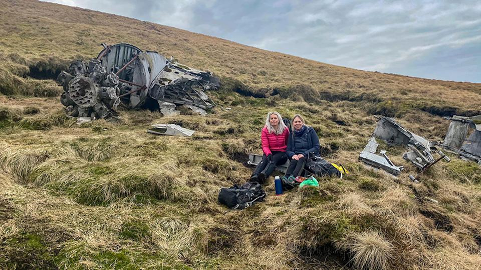 Pamela Aitken and her friend Kathryn found a plane wreck while hiking in Scotland. Source: Facebook/Pamela Aitken