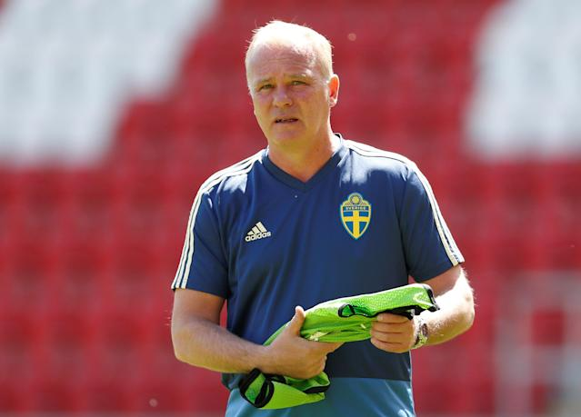 Soccer Football - UEFA European Under-17 Championship Quarter-Final - Italy vs Sweden - New York Stadium, Rotherham, Britain - May 13, 2018 Sweden coach Roger Franzen Action Images via Reuters/Ed Sykes