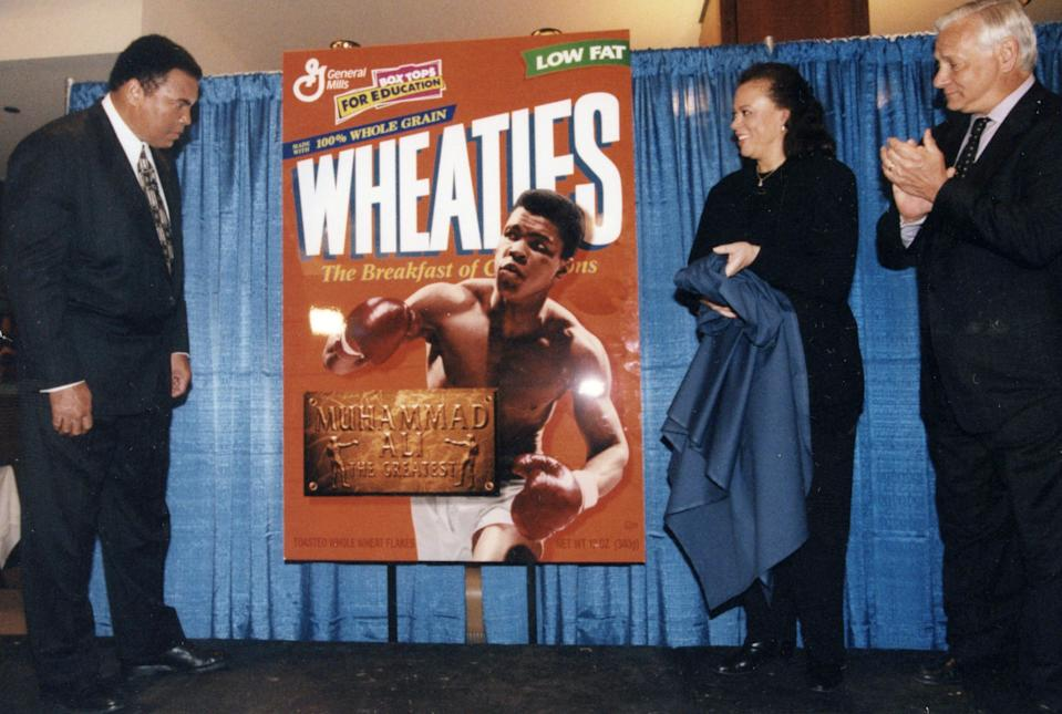 Boxing legend Muhammad Ali at the unvieling of his original Wheaties Box cover in 1999