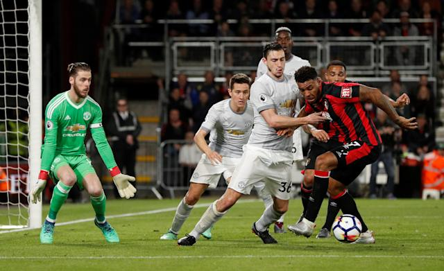 "Soccer Football - Premier League - AFC Bournemouth vs Manchester United - Vitality Stadium, Bournemouth, Britain - April 18, 2018 Manchester United's Matteo Darmian in action with Bournemouth's Joshua King Action Images via Reuters/John Sibley EDITORIAL USE ONLY. No use with unauthorized audio, video, data, fixture lists, club/league logos or ""live"" services. Online in-match use limited to 75 images, no video emulation. No use in betting, games or single club/league/player publications. Please contact your account representative for further details."