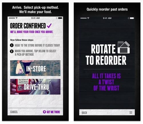 Taco Bell Rotate to Reorder feature