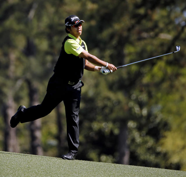 Hideki Matsuyama, of Japan, hits off the second fairway during the first round of the Masters golf tournament Thursday, April 10, 2014, in Augusta, Ga. (AP Photo/Matt Slocum)