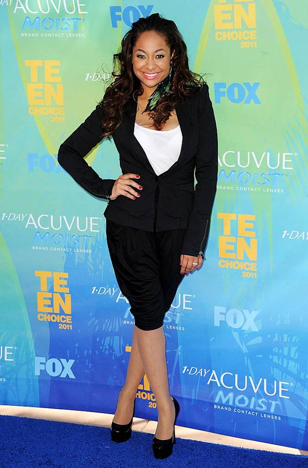 "Unfortunately, Raven-Symone decided to show off her newly svelte physique in a conservative black blazer and dowdy pair of black knickers. The ""State of Georgia"" actress completed her interesting ensemble with a bright green feather hair extension and platform pumps. Jason Merritt/<a href=""http://www.gettyimages.com/"" target=""new"">GettyImages.com</a> - August 7, 2011"