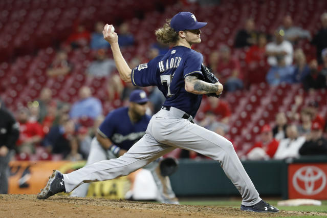Brewers pitcher Josh Hader continued his dominance on Monday, setting a new MLB relief mark while striking out eight batters in a save. (AP)