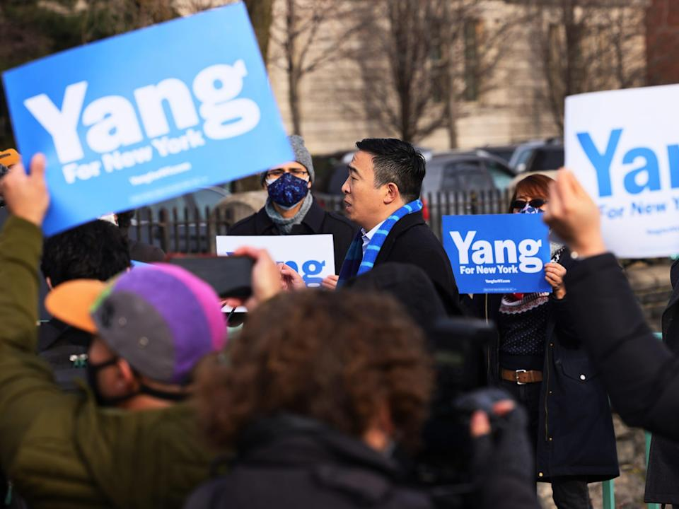New York City Mayoral candidate Andrew Yang speaks at a press conference on January 14, 2021 in New York City. Former presidential candidate Andrew Yang announced his candidacy for Mayor of New York City. (Photo by Michael M. Santiago/Getty Images)