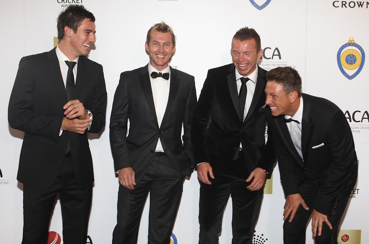 MELBOURNE, AUSTRALIA - FEBRUARY 27:  Patrick Cummins, Bret Lee, Peter Siddle and James Pattinson arrive at the 2012 Allan Border Medal Awards at Crown Palladium on February 27, 2012 in Melbourne, Australia.  (Photo by Lucas Dawson/Getty Images)
