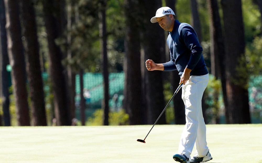 Sergio Garcia of Spain celebrates a birdie putt on the third hole during the 2017 Masters in Augusta - Credit: Reuters