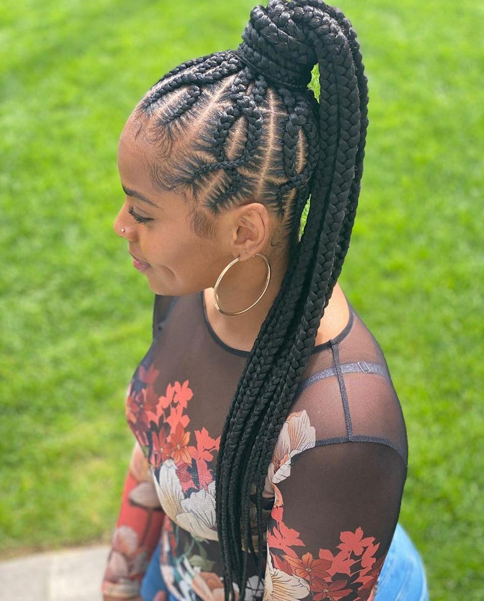 """If you think this pattern cool, just wait until you <a href=""""https://www.instagram.com/p/CDXdz2OhGSW/"""" rel=""""nofollow noopener"""" target=""""_blank"""" data-ylk=""""slk:see the braiding process in action"""" class=""""link rapid-noclick-resp"""">see the braiding process in action</a> for this high pony. Jaw-dropping!"""