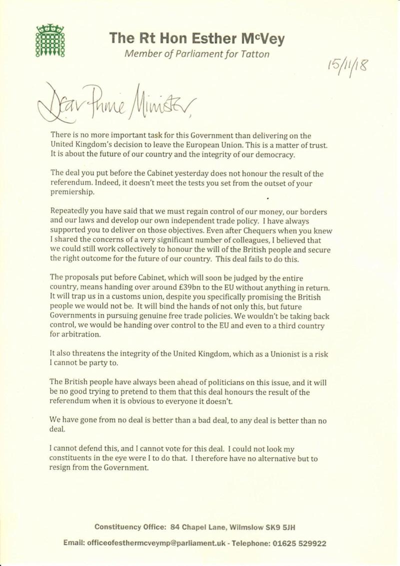Esther McVey's letter to the Prime Minister