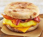 <p>The breakfast sandwiches are made to order, so if you want meat, opt for bacon, egg and cheese on an english muffin. If you substitute the biscuit with an english muffin you'll reduce the fat content by 7 grams. <br> — Calories: 330 <br> — Fat: 15 g (Saturated Fat 7 g) <br> — Sodium: 750 mg <br> — Carbohydrates: 30 g <br> — Sugar: 3 g <br> — Source/Photo: Tim Hortons </p>