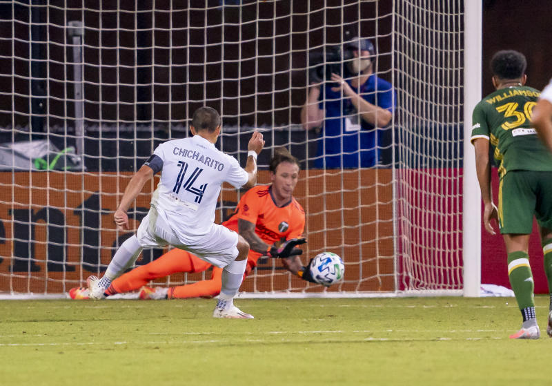 ORLANDO, FL - JULY 13: Los Angeles Galaxy forward Javier Hernandez (14) gets his PK blocked during the MLS Is Back Tournament between the LA Galaxy v Portland Timbers on July 13, 2020 at the ESPN Wide World of Sports, Orlando FL. (Photo by Andrew Bershaw/Icon Sportswire via Getty Images)