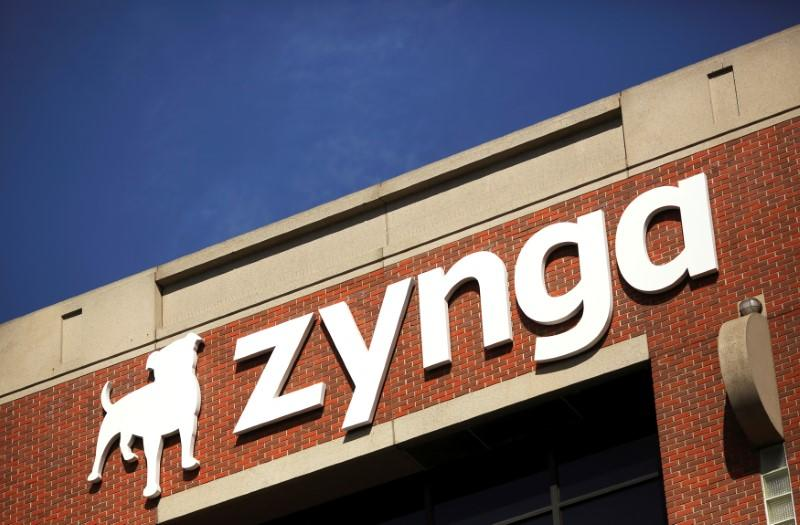 The Zynga logo is pictured at the company's headquarters in San Francisco