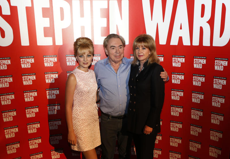 Mandy Rice Davies, former model and showgirl, right poses with composer Andrew Lloyd Webber, center, and actress Charlotte Blackledge, left, who plays her, in the new Lloyd Webber musical 'Stephen Ward', during the show launch photocall, in London, Monday, Sept. 30, 2013. The show charts the rise and fall from grace of society osteopath, Stephen Ward and his involvement with Christine Keeler and Mandy Rice Davies in the 1960s. (AP Photo/Sang Tan)