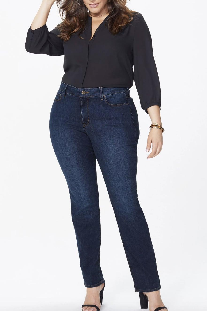 <p>These comfy <span>NYDJ Plus Size Marilyn Straight Leg Jeans</span> ($109) will look good no matter what. The classic style looks great for the office on a night out.</p>