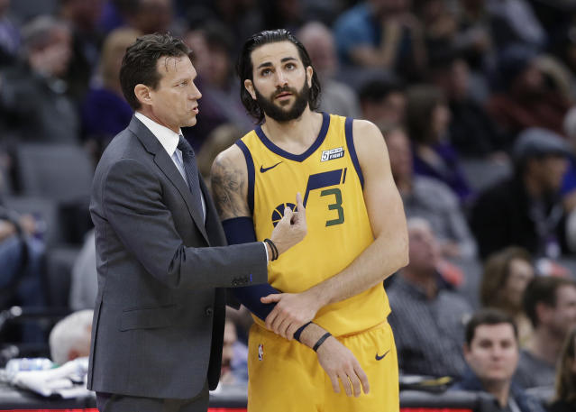 "Utah Jazz coach Quin Snyder talks with guard <a class=""link rapid-noclick-resp"" href=""/nba/players/4610/"" data-ylk=""slk:Ricky Rubio"">Ricky Rubio</a> during the team's NBA game against the <a class=""link rapid-noclick-resp"" href=""/nba/teams/sac/"" data-ylk=""slk:Sacramento Kings"">Sacramento Kings</a>. (AP Photo/Rich Pedroncelli)"