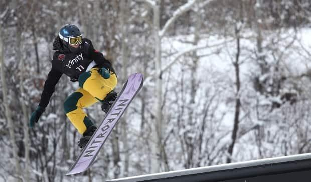 Canadian snowboarder LiamBrearley, pictured at a previous event, claimed a silvermedal at the FIS World Cup slopestyle competition in Silvaplana, Switzerland on Sunday. (Sean M. Haffey/Getty Images - image credit)