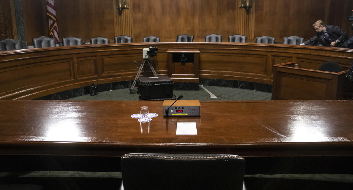 The Senate Judiciary Committee hearing room is prepared for Thursday's planned testimony from Christine Blasey Ford on Capitol Hill in Washington on Wednesday. (Photo: AP/J. Scott Applewhite)