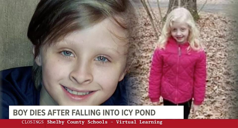 Benjamin Luckett (left) died trying to save his sister, Abigail (right), after she fell into an icy pond near Memphis, Tennessee.