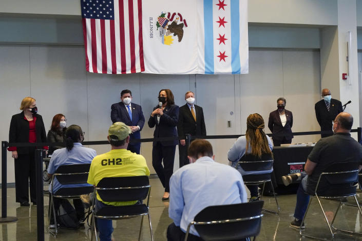 Vice President Kamala Harris speaks at a COVID-19 vaccination site, Tuesday, April 6, 2021, in Chicago. The site is a partnership between the City of Chicago and the Chicago Federation of Labor. (AP Photo/Jacquelyn Martin)