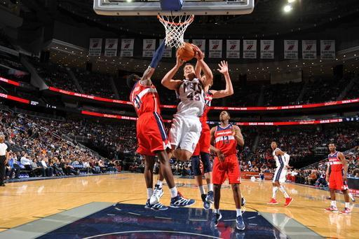 NEWARK, NJ - APRIL 6: Kris Humphries #43 of the New Jersey Nets goes to the basket against the Washington Wizards on April 6, 2012 at the Prudential Center in Newark, New Jersey. (Photo by Jesse D. Garrabrant/NBAE via Getty Images)