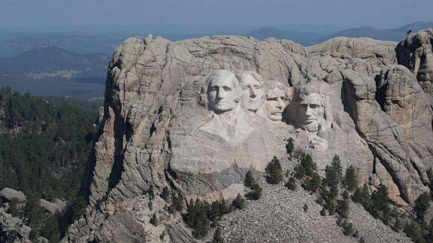 PHOTO: The busts of presidents George Washington, Thomas Jefferson, Theodore Roosevelt and Abraham Lincoln tower over the Black Hills at Mount Rushmore National Monument on July 02, 2020, near Keystone, S.D. (Scott Olson/Getty Images, FILE)
