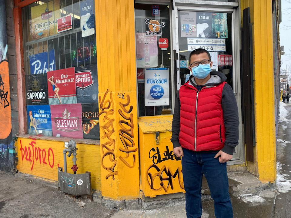 Wenjun Mo outside of his Montreal depanneur. (Photo: Provided by Wenjun Mo)