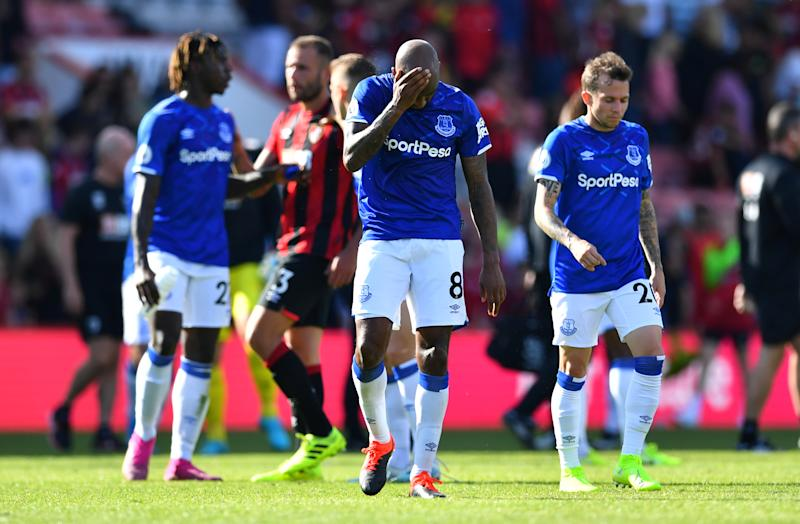 "Soccer Football - Premier League - AFC Bournemouth v Everton - Vitality Stadium, Bournemouth, Britain - September 15, 2019 Everton's Fabian Delph and Bernard look dejected after the match REUTERS/Dylan Martinez EDITORIAL USE ONLY. No use with unauthorized audio, video, data, fixture lists, club/league logos or ""live"" services. Online in-match use limited to 75 images, no video emulation. No use in betting, games or single club/league/player publications. Please contact your account representative for further details."