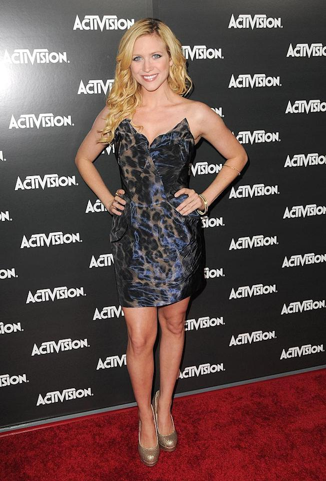 """Hairspray"" cutie Brittany Snow popped a pose in a shimmering leopard-print number. Jordan Strauss/<a href=""http://www.wireimage.com"" target=""new"">WireImage.com</a> - June 14, 2010"