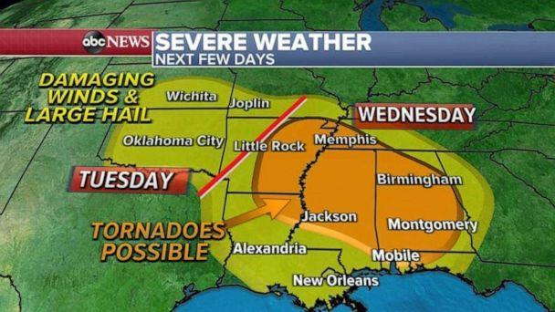 PHOTO: It looks like the worst severe weather day will be Wednesday from Arkansas to Alabama where strong tornadoes are possible.  (ABC News)