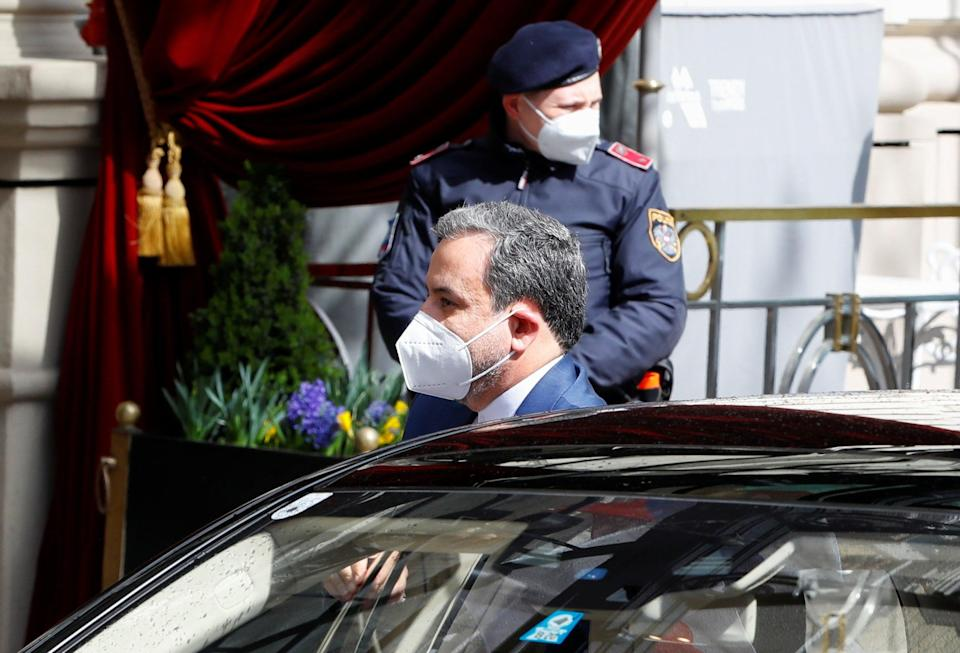 <p>Iran's deputy at the Ministry of Foreign Affairs, Abbas Araghchi, arrives at a meeting of the JCPOA Joint Commission in Vienna, on 6 April</p> (Reuters)