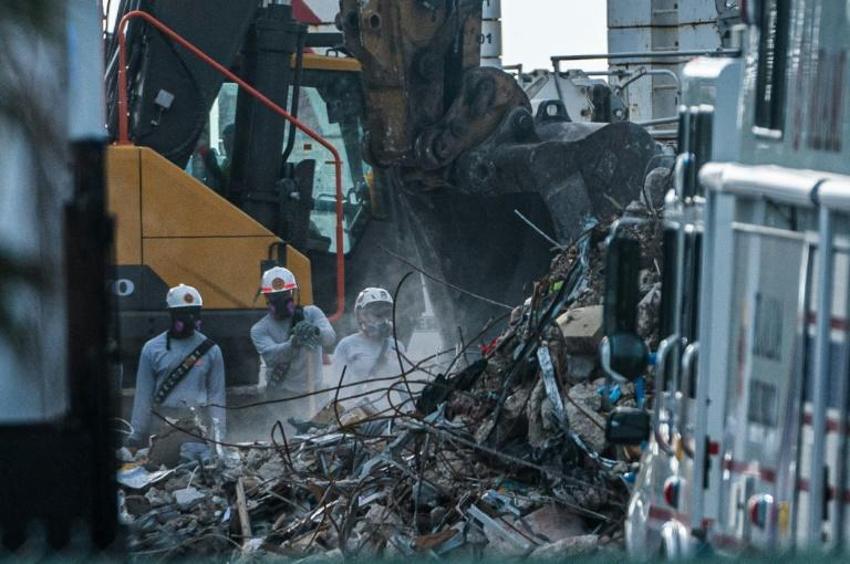 Rescue work continued day and night at the remains of the 12-story Champlain Towers South