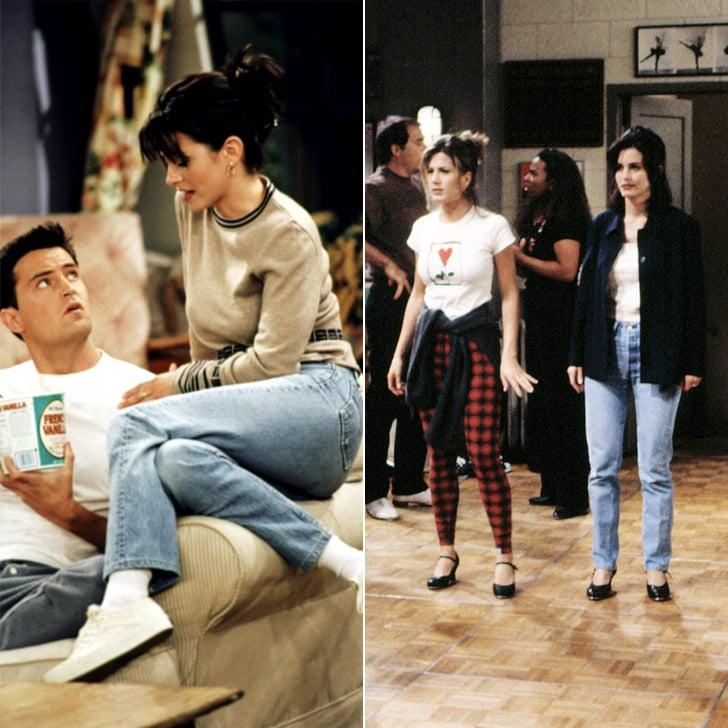 <p>In later seasons, around the time Monica Geller started dating Chandler, she ventured into boot cut jeans and wore them in many colors - even white! But we'll always remember her classic '90s style as a straight leg with a high rise. She wore these most regularly with Keds and white socks, in the most polished fashion, of course. They were the precursor to skinny jeans, and honestly, we prefer them.</p>