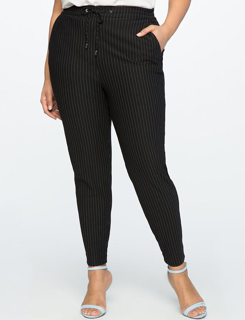 "Get it at <a href=""http://www.eloquii.com/pull-on-pinstripe-trouser/1184410.html?cgid=pants&amp;dwvar_1184410_colorCode=150&amp;start=55"" target=""_blank"">Eloquii</a>, $80."