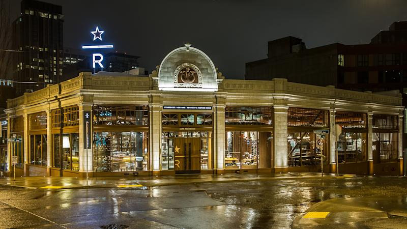 The exterior of the Starbucks Reserve Roastery and Tasting Room in Seattle.