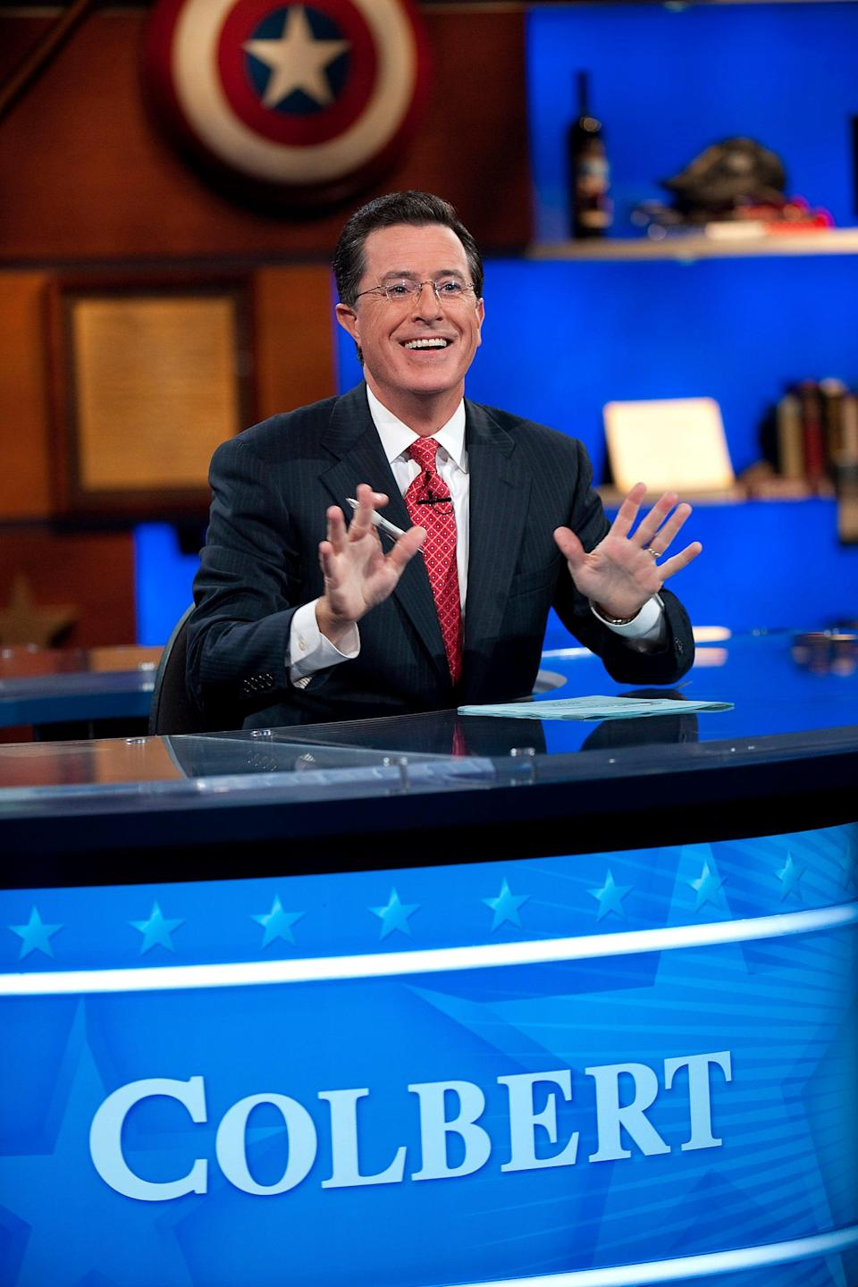 """Host Stephen Colbert appears during the """"Been There: Won That: The Returnification of the American-Do Troopscapeon"""" special of The Colbert Report in New York City."""