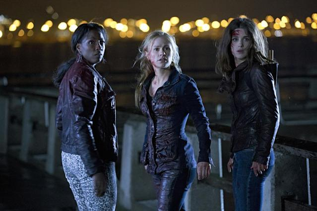 Early teaser trailers promised that blood would spill this season, and by the looks of it, Tara Thornton (Rutina Wesley), Sookie Stackhouse (Anna Paquin), and Nora Gainsborough (Lucy Griffiths) are getting a head start on the bloodbath.
