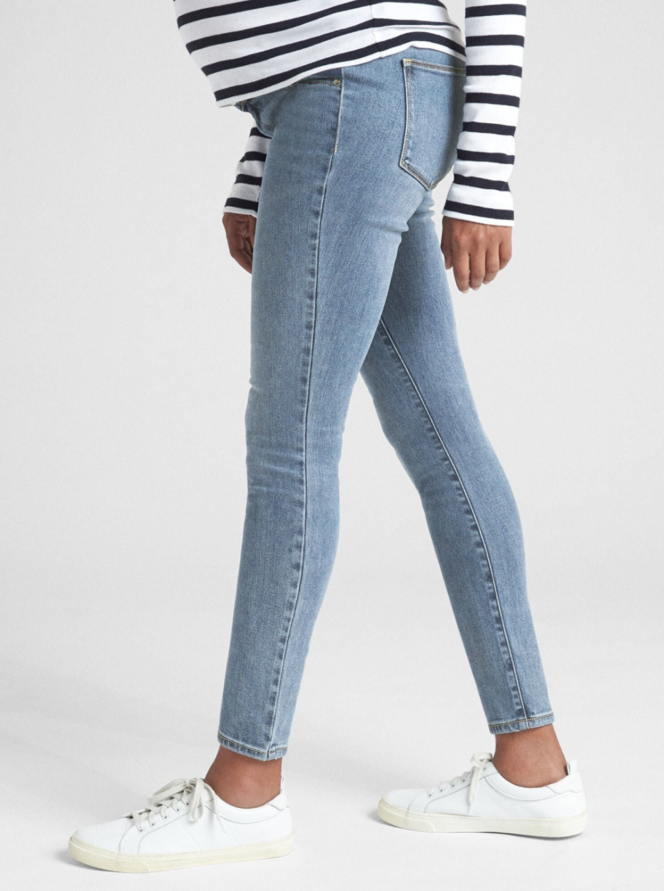 """<p>Busy folks who default to denim will find there's plenty of great options at <a href=""""https://www.gap.co.uk/gap/maternity/clothing/jeans/?nav=meganav%3AMaternity%3AClothing%3AJeans"""" rel=""""nofollow noopener"""" target=""""_blank"""" data-ylk=""""slk:GAP"""" class=""""link rapid-noclick-resp"""">GAP</a>. From <a href=""""https://www.gap.co.uk/gap/maternity-soft-wear-inset-panel-true-skinny-jeans/000369912.html?dwvar_000369912_color=000369912000&dwvar_000369912_fit=regular&cgid=1113535#start=8&nav=meganav%3AMaternity%3AClothing%3AJeans"""" rel=""""nofollow noopener"""" target=""""_blank"""" data-ylk=""""slk:true blue skinnies"""" class=""""link rapid-noclick-resp"""">true blue skinnies</a> to trendy <a href=""""https://www.gap.co.uk/gap/maternity-soft-wear-full-panel-true-skinny-jeans-in-distressed/000369710.html?dwvar_000369710_color=000369710000&dwvar_000369710_fit=regular&cgid=89717#start=1&nav=meganav%3AMaternity%3AClothing%3AJeans"""" rel=""""nofollow noopener"""" target=""""_blank"""" data-ylk=""""slk:distressed maternity jeans"""" class=""""link rapid-noclick-resp"""">distressed maternity jeans</a>, their soft stretch denim is engineered with a high waist and everyday comfort in mind. Petite? Find cool cropped maternity styles here too.</p><p>Oh, and their great <a href=""""https://www.gap.co.uk/gap/maternity/clothing/activewear/?nav=meganav%3AMaternity%3AClothing%3AActivewear"""" rel=""""nofollow noopener"""" target=""""_blank"""" data-ylk=""""slk:maternity activewear"""" class=""""link rapid-noclick-resp"""">maternity activewear</a> is really worth a splurge - throw some in your basket with these <a href=""""https://www.gap.co.uk/gap/maternity-inset-panel-true-skinny-camo-jeans-with-washwell-/000618799.html?dwvar_000618799_color=000618799000&dwvar_000618799_fit=regular&cgid=1030215#start=4&nav=meganav%3AMaternity%3AClothing%3AJeans"""" rel=""""nofollow noopener"""" target=""""_blank"""" data-ylk=""""slk:camo print skinnies"""" class=""""link rapid-noclick-resp"""">camo print skinnies</a>.</p><p><a class=""""link rapid-noclick-resp"""" href=""""https://go.redirectingat.com?id=127X1599956&url=https%3A%2F%2F"""