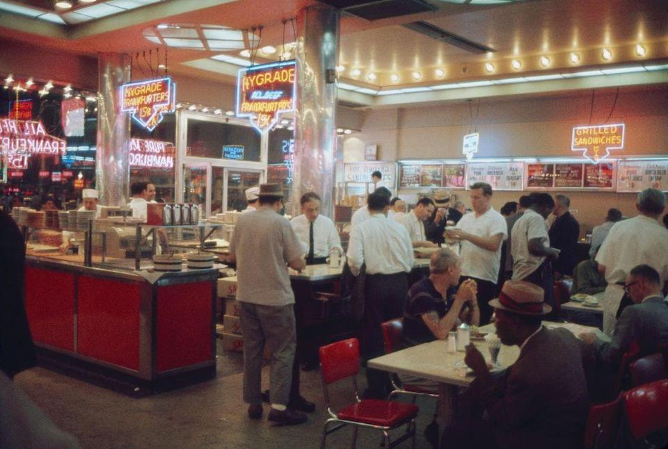 <p>This photo of a lively diner in Times Square is pretty representative of what diners were like in New York in the '60s. Even in the heart of the city, people flocked to them to socialize. </p>