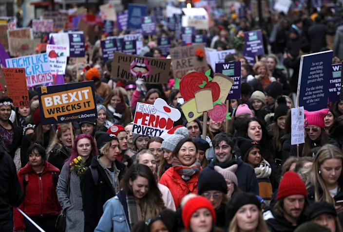Protesters take part in the Women's March calling for equality, justice and an end to austerity in London, Britain, Jan.19, 2019. (Photo: Simon Dawson/Reuters)