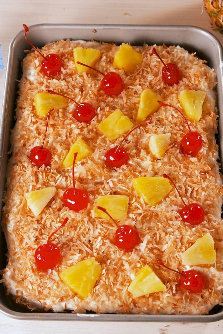 """<p>Wish you were here!</p><p>Get the recipe from <a href=""""https://www.delish.com/cooking/recipe-ideas/a19757706/pina-colada-poke-cake-recipe/"""" rel=""""nofollow noopener"""" target=""""_blank"""" data-ylk=""""slk:Delish"""" class=""""link rapid-noclick-resp"""">Delish</a>.</p><p><a class=""""link rapid-noclick-resp"""" href=""""https://www.amazon.com/USA-Pan-Bakeware-Rectangular-Aluminized/dp/B0029JOC6I?tag=syn-yahoo-20&ascsubtag=%5Bartid%7C1782.g.1631%5Bsrc%7Cyahoo-us"""" rel=""""nofollow noopener"""" target=""""_blank"""" data-ylk=""""slk:BUY NOW"""">BUY NOW</a> <em><strong>USA Pan Nonstick Rectangular Cake Pan, $20, amazon.com</strong></em></p>"""