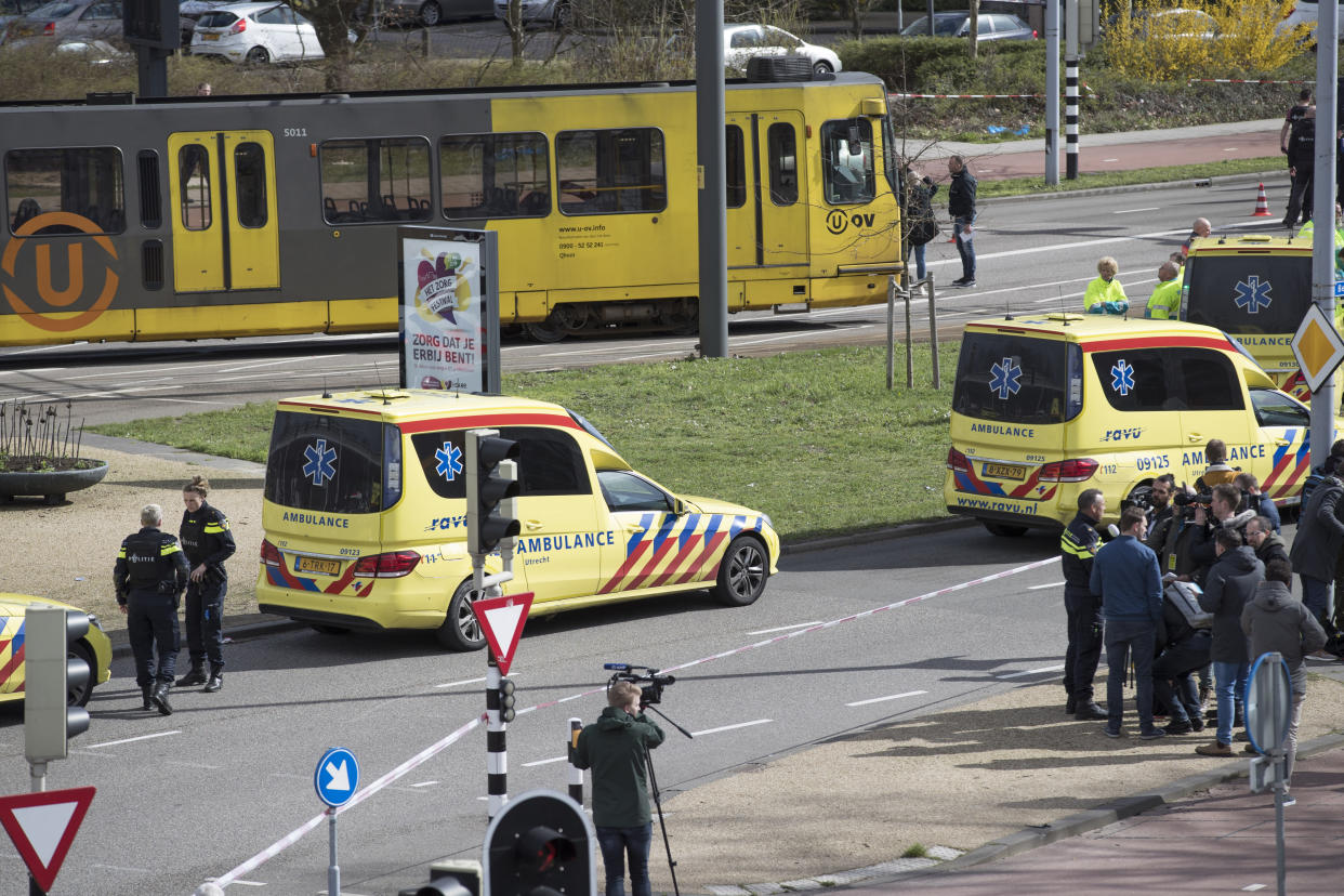Ambulances are seen next to a tram after a shooting in Utrecht, Netherlands, Monday, March 18, 2019. (Photo: Peter Dejong/AP)
