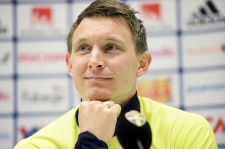 FILE PHOTO: Football Soccer - Sweden v Czech Republic - International Friendly - Friends Arena, Stockholm, Sweden - 28/03/16. Swedish national soccer team player Kim Kallstrom during a pre-match news conference. REUTERS/Fredrik Sandberg/TT News Agency/File Photo