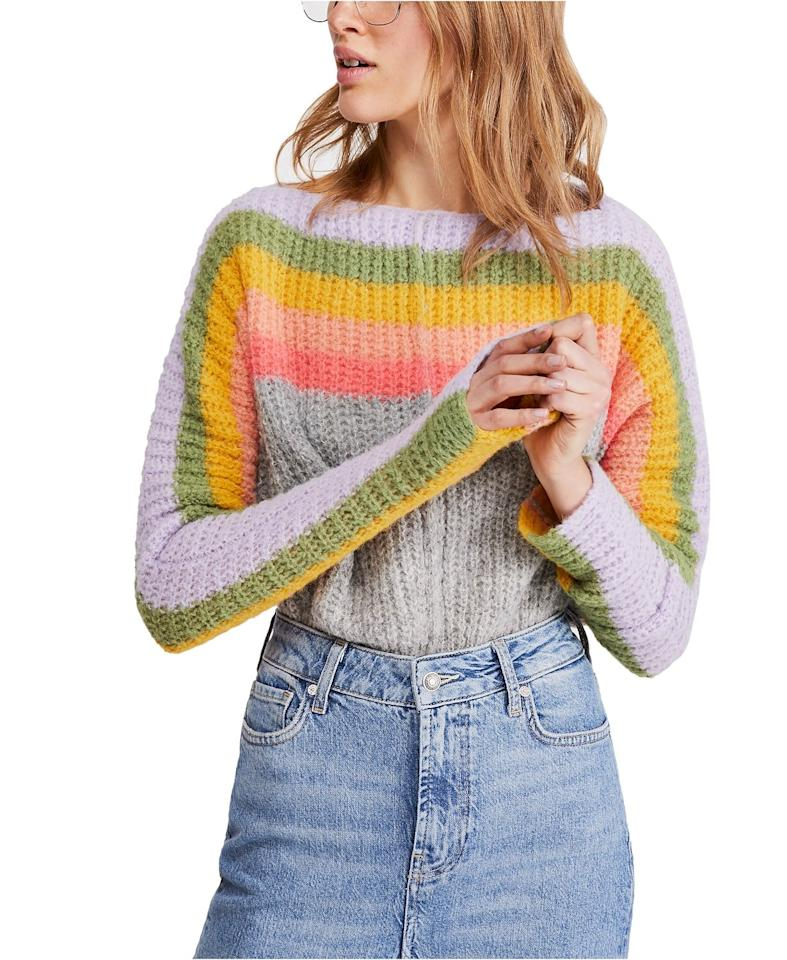 """<p>Can't refuse a little rainbow print? Then this <a href=""""https://www.popsugar.com/buy/Free-People-See-Rainbow-Sweater-493376?p_name=Free%20People%20See%20The%20Rainbow%20Sweater&retailer=macys.com&pid=493376&price=168&evar1=fab%3Aus&evar9=46666450&evar98=https%3A%2F%2Fwww.popsugar.com%2Fphoto-gallery%2F46666450%2Fimage%2F46666809%2FFree-People-See-Rainbow-Sweater&list1=shopping%2Cfall%20fashion%2Csweaters%2Cfall%2Cmacys&prop13=api&pdata=1"""" rel=""""nofollow"""" data-shoppable-link=""""1"""" target=""""_blank"""" class=""""ga-track"""" data-ga-category=""""Related"""" data-ga-label=""""https://www.macys.com/shop/product/free-people-see-the-rainbow-sweater?ID=9367690&amp;CategoryID=260#fn=sp%3D1%26spc%3D2033%26ruleId%3D105%7CBOOST%20ATTRIBUTE%7CBOOST%20SAVED%20SET%26searchPass%3DmatchNone%26slotId%3D60"""" data-ga-action=""""In-Line Links"""">Free People See The Rainbow Sweater</a> ($168) is for you.</p>"""