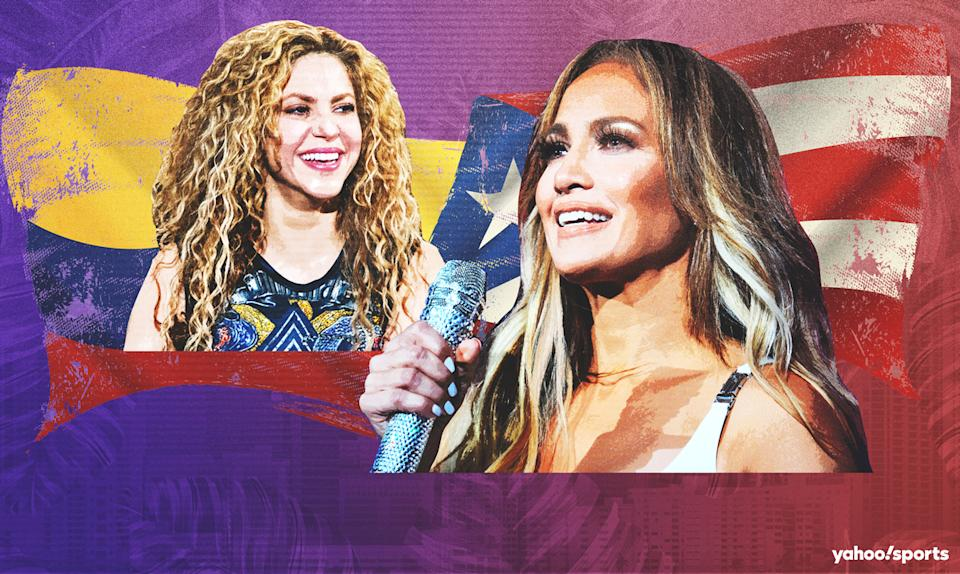 JLO and Shakira will take the halftime stage of Super Bowl LIV in Miami. (Yahoo Sports illustration)